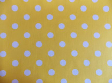 Yellow With 22mm White Spot 100 Cotton Fabric